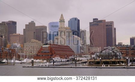 Boston North Skyline View From Harborside - Boston. Usa - April 5, 2017
