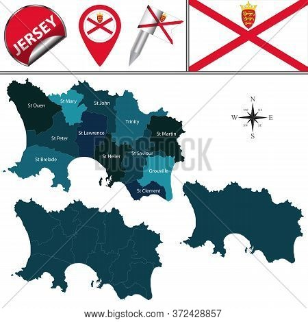 Vector Map Of Jersey, Crown Dependencies Island, Great Britain With Named Parishes And Icons