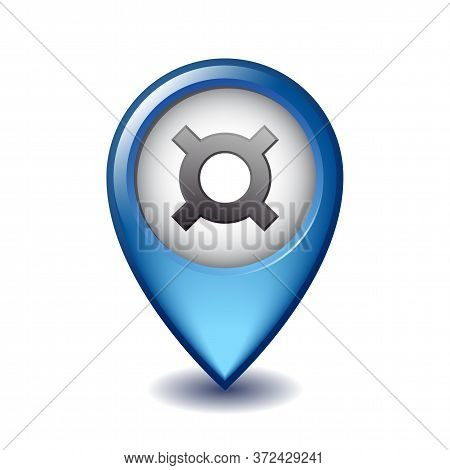 Generic Currency Symbol On Mapping Marker Vector Icon.