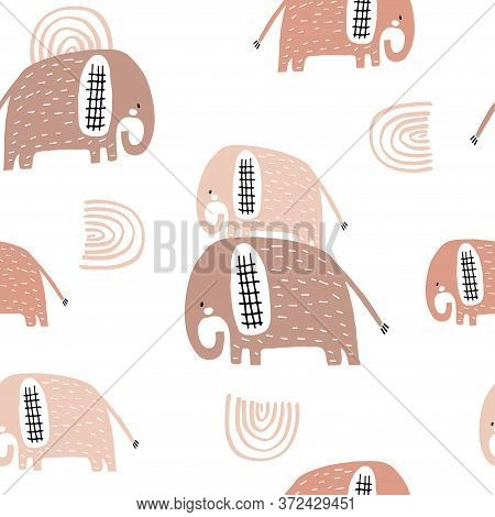 Seamless Pattern With Cute Mom And Baby Elephant, Rainbows. Creative Childish Texture. Great For Fab