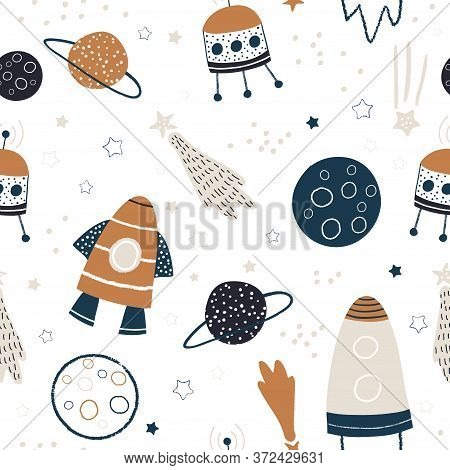 Childish Seamless Pattern With Hand Drawn Space Elements Space, Rocket, Star, Planet, Space Probe. T