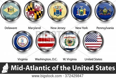 Flags Of Mid Atlantic Region In The United States. Vector Image