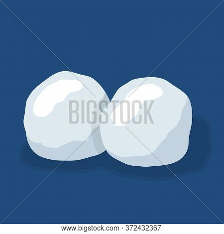 Snow Ball Ice Set. Winter Design Snowy Icicle Snowball. White Blue Snow Template. Decoration Isolate