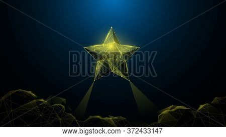 Follow Your Dreams Concept, Star Over Clouds On Background. Low Poly Wireframe. Vector Illustration