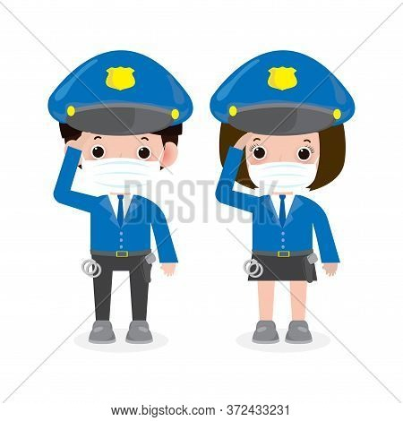 New Normal Lifestyle Concept. Police Officers, Woman And Man Cops Characters,security In Uniform Wea