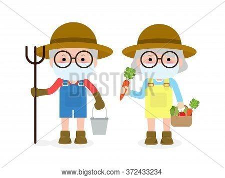 New Normal Lifestyle Concept. Happy Farmers Senior Couple Wearing Face Mask Protect Coronavirus Covi