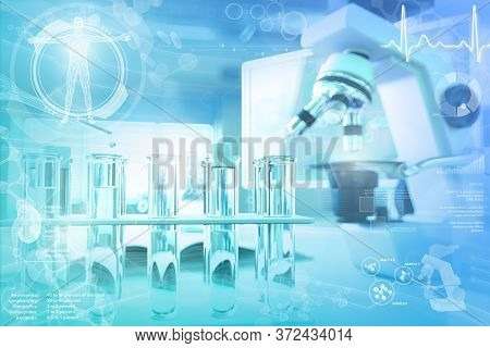 Biochemistry University Texture Or Background - Proofs And Microscope In Office - Conceptual Medical