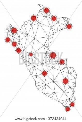 Polygonal Mesh Peru Map With Coronavirus Centers. Abstract Network Connected Lines And Flu Viruses F
