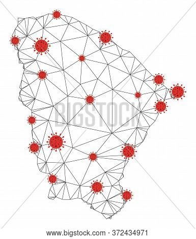 Polygonal Mesh Ceara State Map With Coronavirus Centers. Abstract Net Connected Lines And Flu Viruse