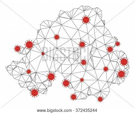 Polygonal Mesh Northern Ireland Map With Coronavirus Centers. Abstract Mesh Connected Lines And Covi