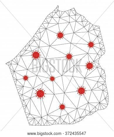 Polygonal Mesh Dubai Emirate Map With Coronavirus Centers. Abstract Mesh Connected Lines And Covid V
