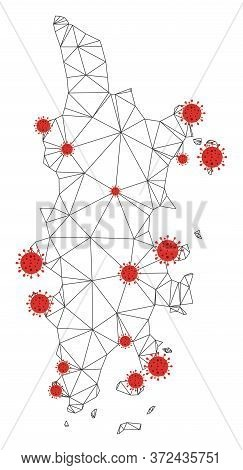 Polygonal Mesh Phuket Map With Coronavirus Centers. Abstract Mesh Connected Lines And Covid- 2019 Vi