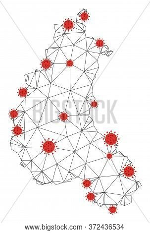 Polygonal Mesh Champagne Province Map With Coronavirus Centers. Abstract Network Connected Lines And