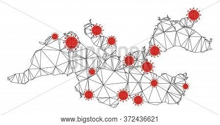 Polygonal Mesh Mediterranean Sea Map With Coronavirus Centers. Abstract Mesh Connected Lines And Flu
