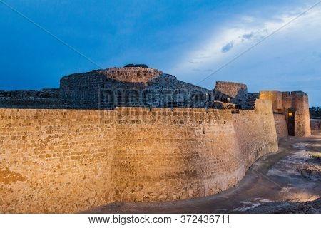 Evening View Of Bahrain Fort Qalat Al-bahrain In Bahrain