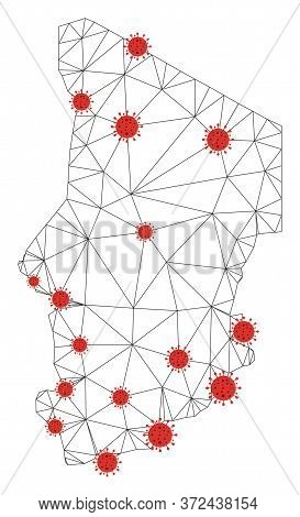 Polygonal Mesh Chad Map With Coronavirus Centers. Abstract Network Connected Lines And Flu Viruses F