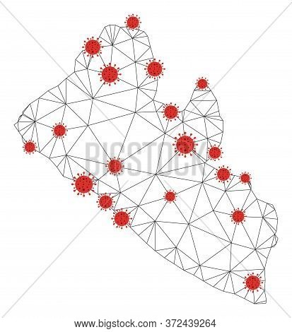 Polygonal Mesh Liberia Map With Coronavirus Centers. Abstract Network Connected Lines And Covid- 201
