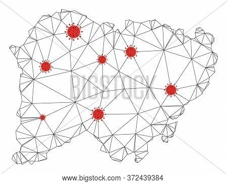 Polygonal Mesh Salamanca Province Map With Coronavirus Centers. Abstract Network Connected Lines And