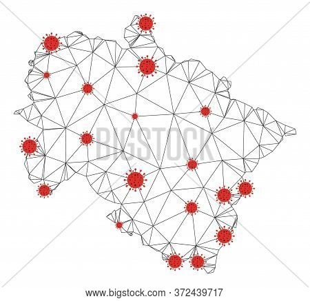 Polygonal Mesh Uttarakhand State Map With Coronavirus Centers. Abstract Network Connected Lines And