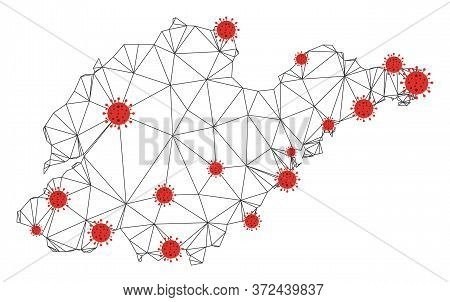 Polygonal Mesh Shandong Province Map With Coronavirus Centers. Abstract Mesh Connected Lines And Flu