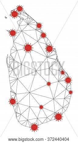 Polygonal Mesh Sri Lanka Island Map With Coronavirus Centers. Abstract Network Connected Lines And F