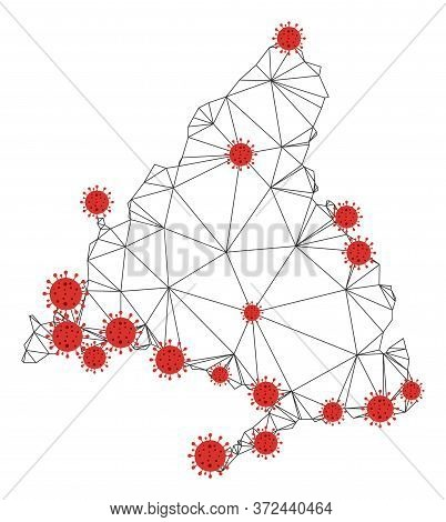 Polygonal Mesh Madrid Province Map With Coronavirus Centers. Abstract Network Connected Lines And Fl