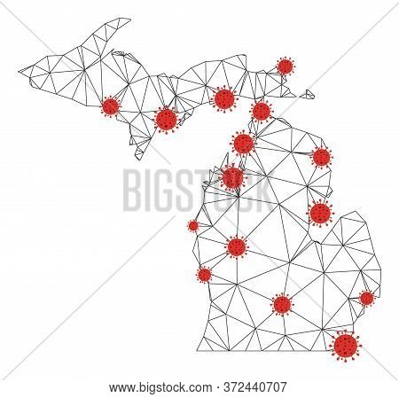 Polygonal Mesh Michigan State Map With Coronavirus Centers. Abstract Network Connected Lines And Cov
