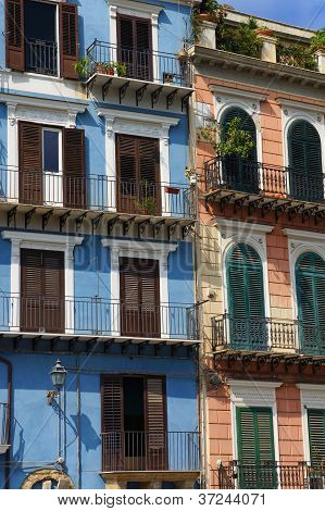 Pink and blue facades