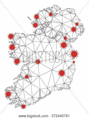 Polygonal Mesh Ireland Countries Map With Coronavirus Centers. Abstract Mesh Connected Lines And Flu