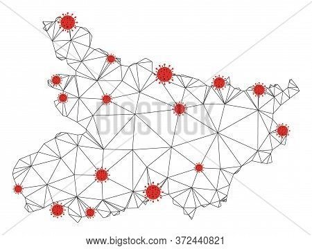 Polygonal Mesh Bihar State Map With Coronavirus Centers. Abstract Network Connected Lines And Flu Vi