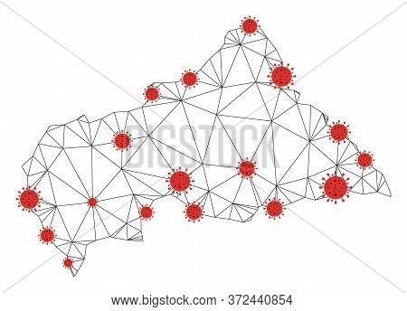 Polygonal Mesh Central African Republic Map With Coronavirus Centers. Abstract Mesh Connected Lines