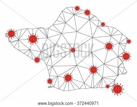 Polygonal Mesh Faial Island Map With Coronavirus Centers. Abstract Mesh Connected Lines And Flu Viru
