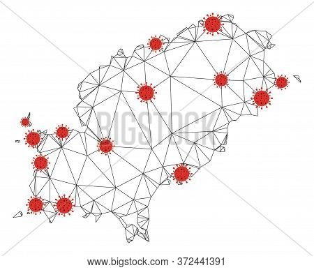 Polygonal Mesh Ibiza Island Map With Coronavirus Centers. Abstract Net Connected Lines And Covid- 20