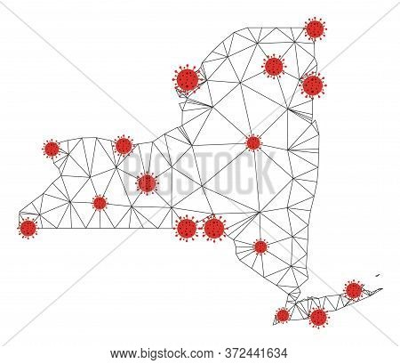 Polygonal Mesh New York State Map With Coronavirus Centers. Abstract Network Connected Lines And Cov