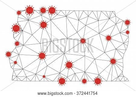 Polygonal Mesh Brazil Distrito Federal Map With Coronavirus Centers. Abstract Network Connected Line