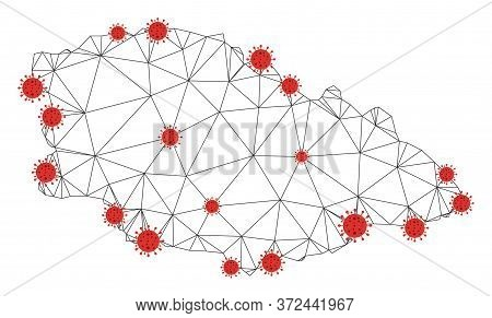 Polygonal Mesh Gozo Island Map With Coronavirus Centers. Abstract Network Connected Lines And Flu Vi