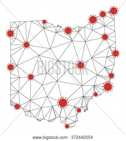 Polygonal Mesh Ohio State Map With Coronavirus Centers. Abstract Mesh Connected Lines And Covid Viru