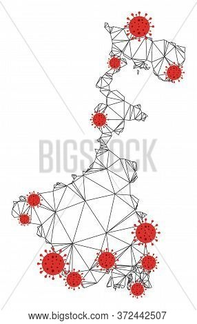Polygonal Mesh West Bengal State Map With Coronavirus Centers. Abstract Mesh Connected Lines And Flu