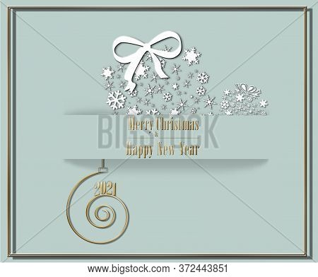 Elegant Luxury 2021 Merry Christmas Happy New Year Card In Pastel Green Colour With Golden White Bla