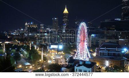 Atlanta Downtown Skyline At Night - Atlanta, Georgia - April 20, 2016