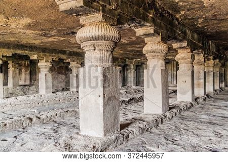 Ellora, India - February 7, 2017: Carved Cave In Ellora, Maharasthra State, India