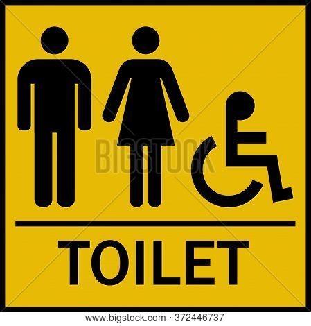 Men Women Handicap Toilet Sign. Black On Yellow Background.