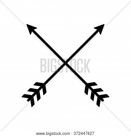 Arrow Icons Cross. Vector Isolated Elements. Hipster Arrow. Tribal Arrow. Black Arrow Icon Vector.