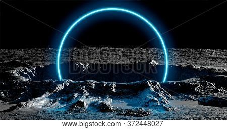 3d Rendering. A Meteorite Crater On The Surface Of A Satellite, Moon Or Planet In Circle Neon Light.