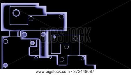 3d Rendering. Abstract Background Modern Geometric Cubes In Ambient Occlusion With Neon Glow On A Da