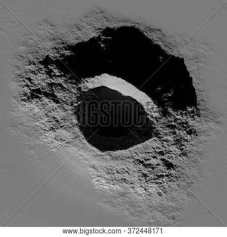 3d Rendering. A Meteorite Crater On The Surface Of A Satellite, Moon Or Planet. Procedurally Generat