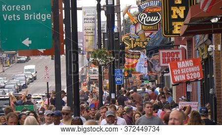Nashville Broadway Is The Most Popular Place In The City - Nashville, Usa - June 17, 2019