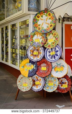 Lipari, Sicily. Aeolian Island. Italy. 11/10/2019 - Traditional Sicilian Pottery. Plates With Symbol