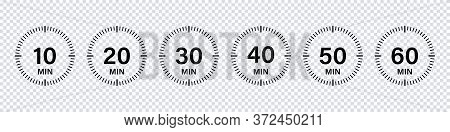 Timer Chronometer Countdown Set. Vector Isolated Collection Digital Elements. Stopwatch Black Vector