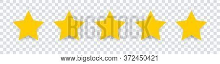 Star Icon. Vector Yellow Isolated Five Stars. Customer Feedback Concept. Vector 5 Stars Rating Revie